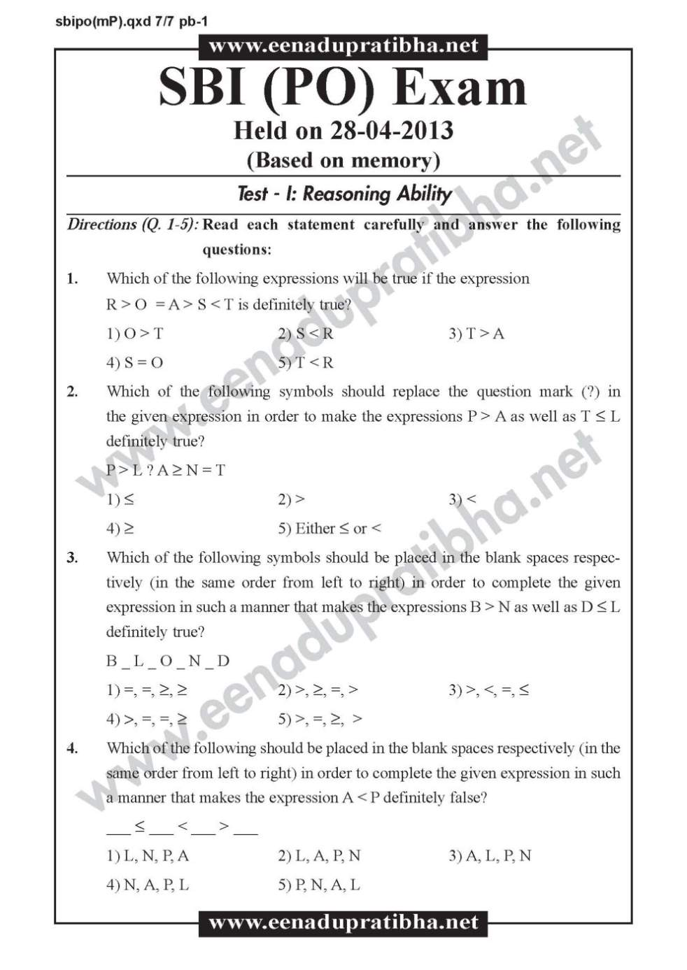 Sbi bank po exam question paper 2018 2019 student forum.