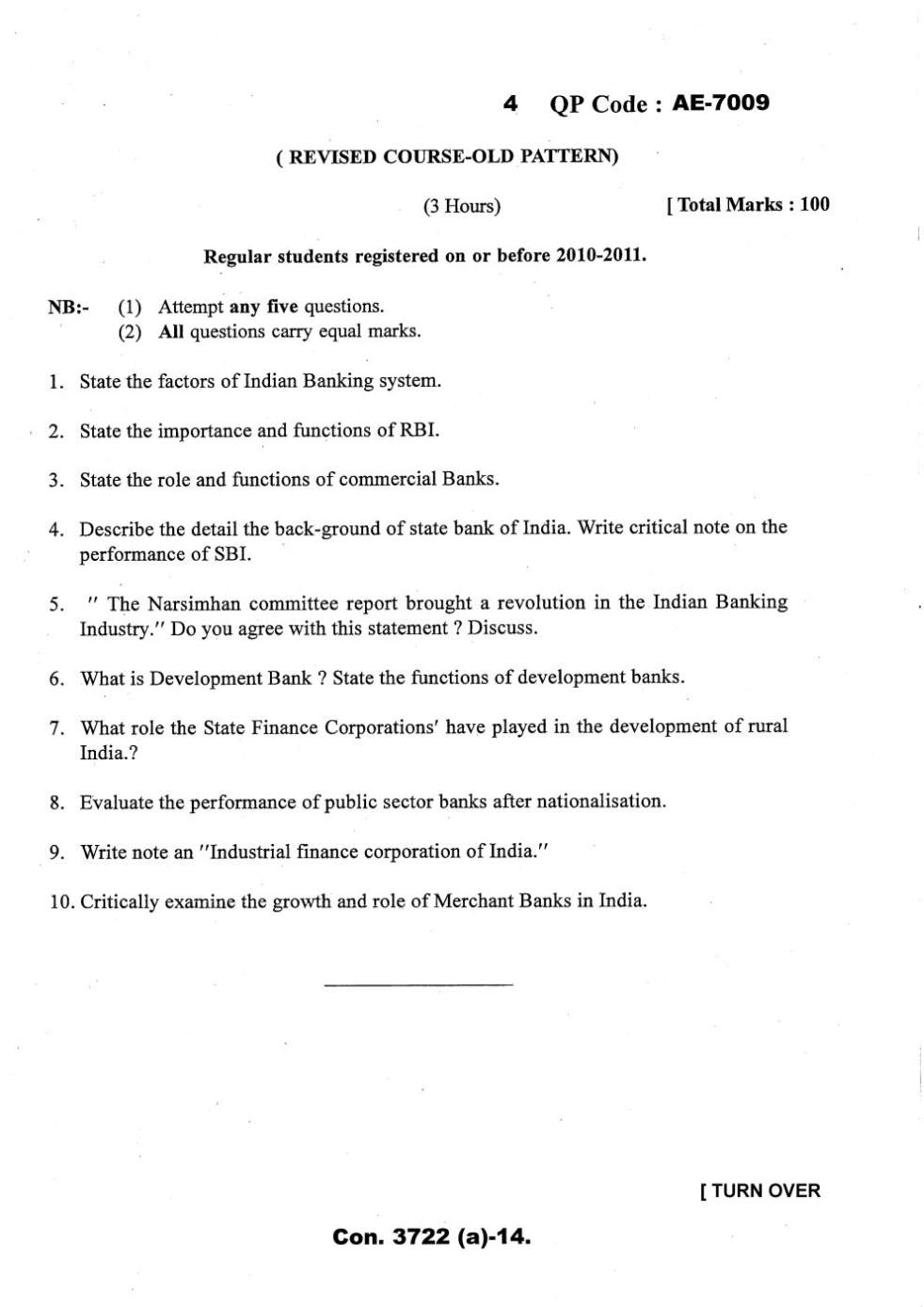TYB Com Mumbai University Question Paper - 2019 2020 Student