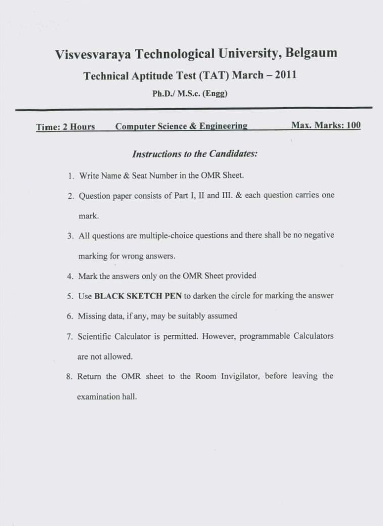 Vtu phd course work exam 2013