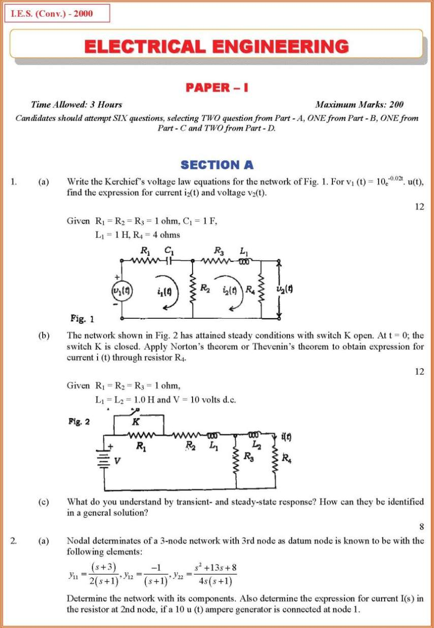 Ies Electrical Engineering Exam Paper Pattern