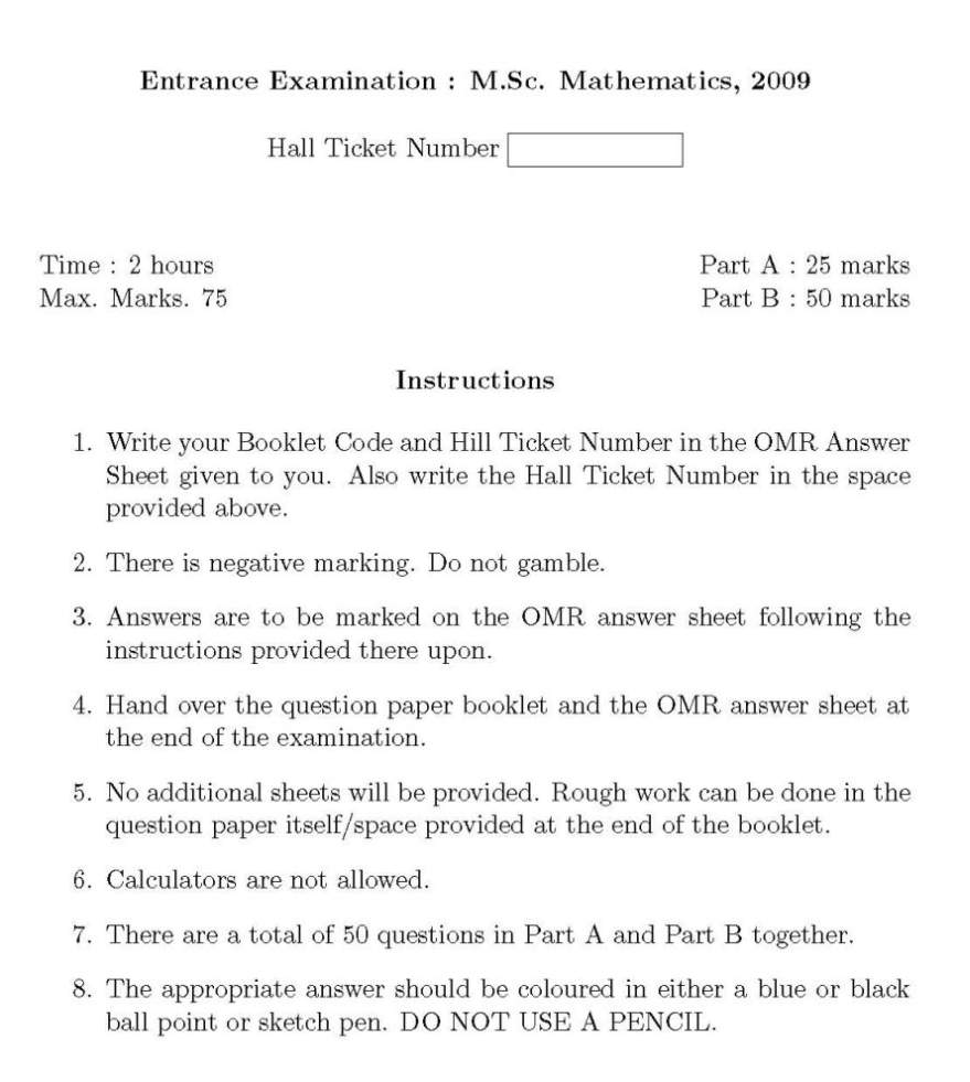 M.Sc Maths Entrance Exam Question Paper