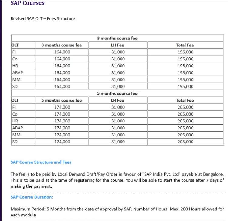 Sap Course Fees Structure 2021 2022 Student Forum