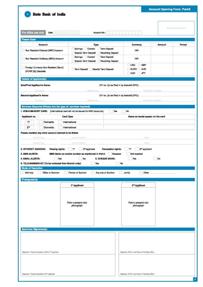 SBI account opening form - 2019 2020 2021 Student Forum