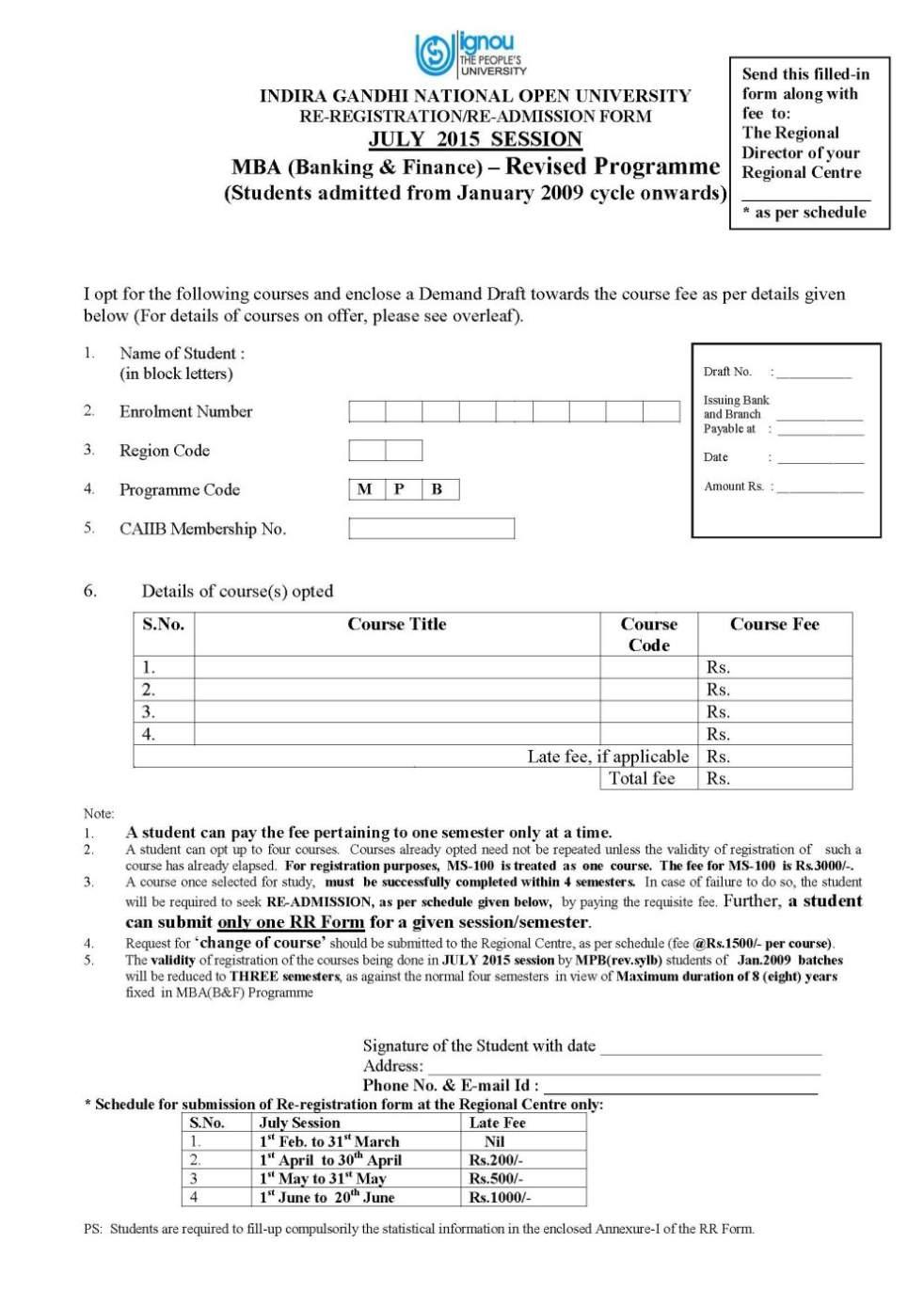 Ignou Convocation Form 2012 Pdf