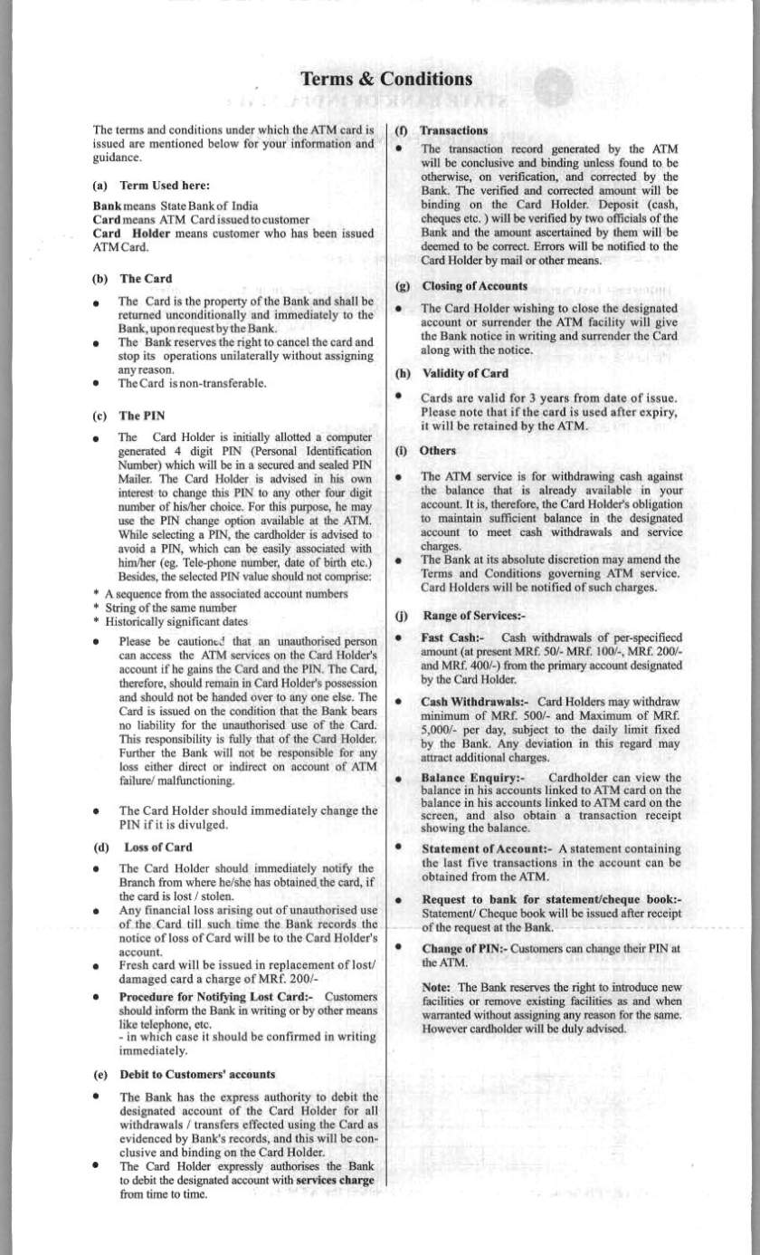 Application form for centcash debit card of central bank of india ...
