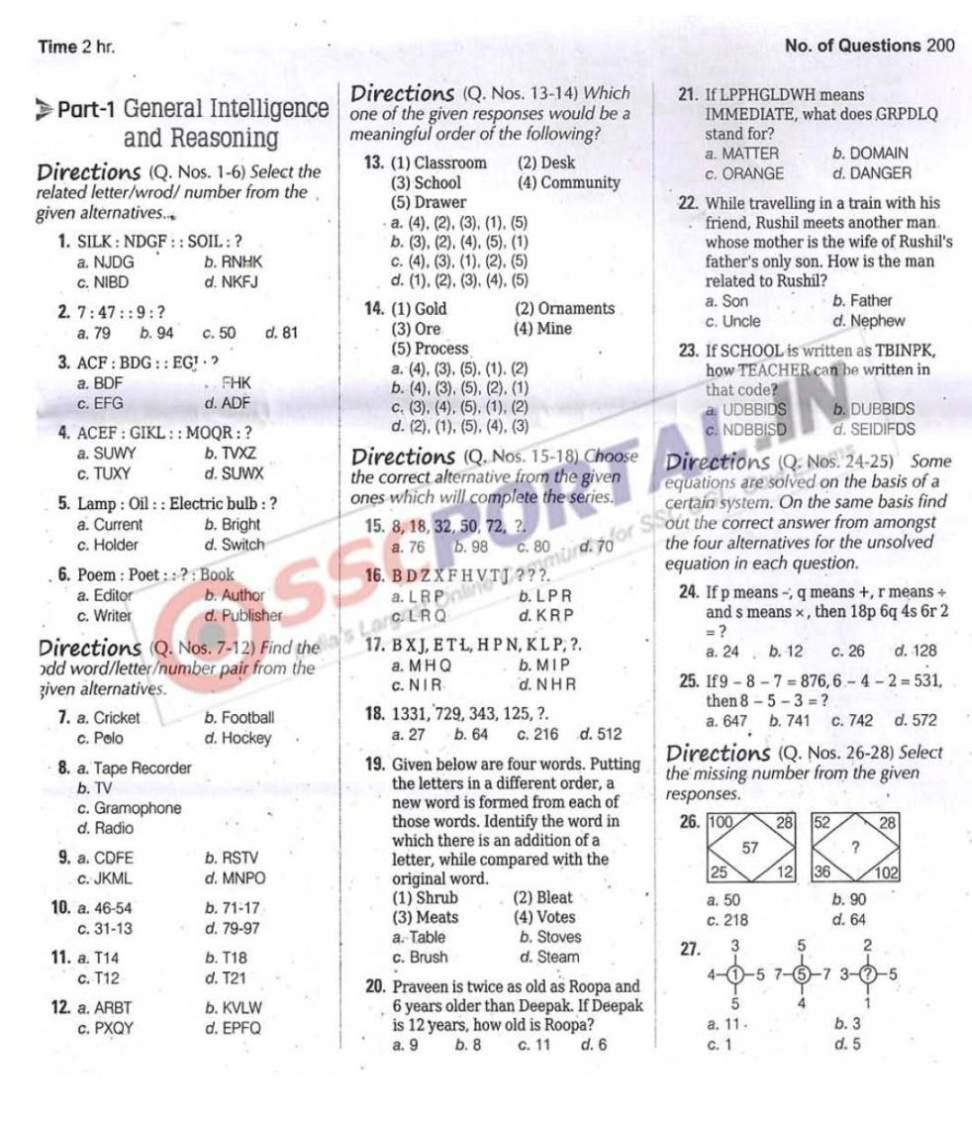 Ssc Stenographer Sample Paper Pdf
