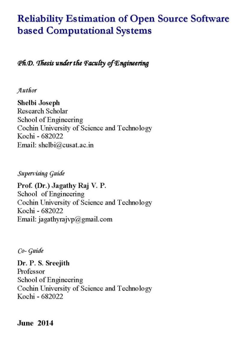 Cusat phd thesis