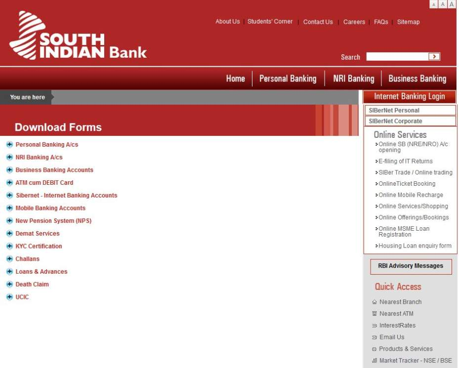 south indian bank application form z83