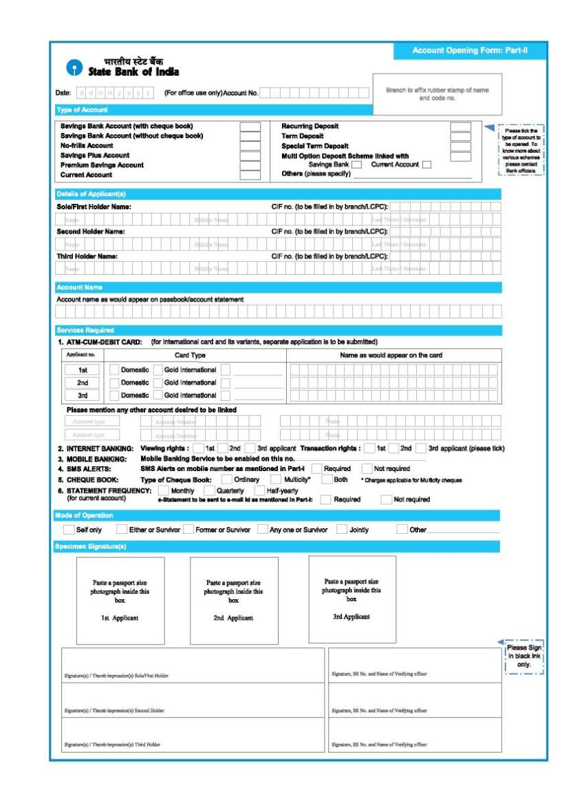 Central bank of india saving account opening form download