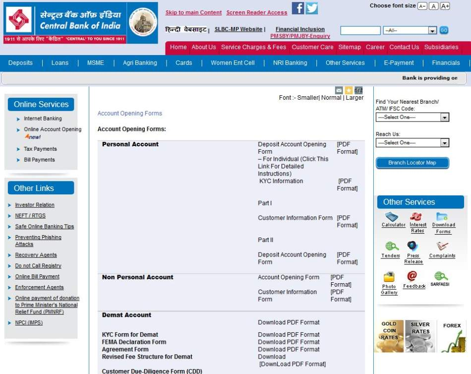 central bank of india current account form