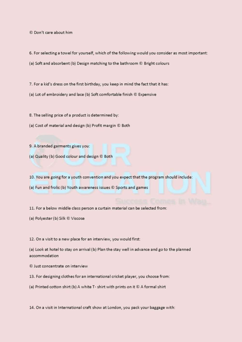 Nift Creative Ability Test Sample Papers 2020 2021 Student Forum