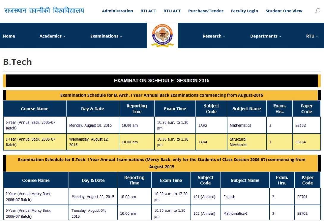 RTU Time Table