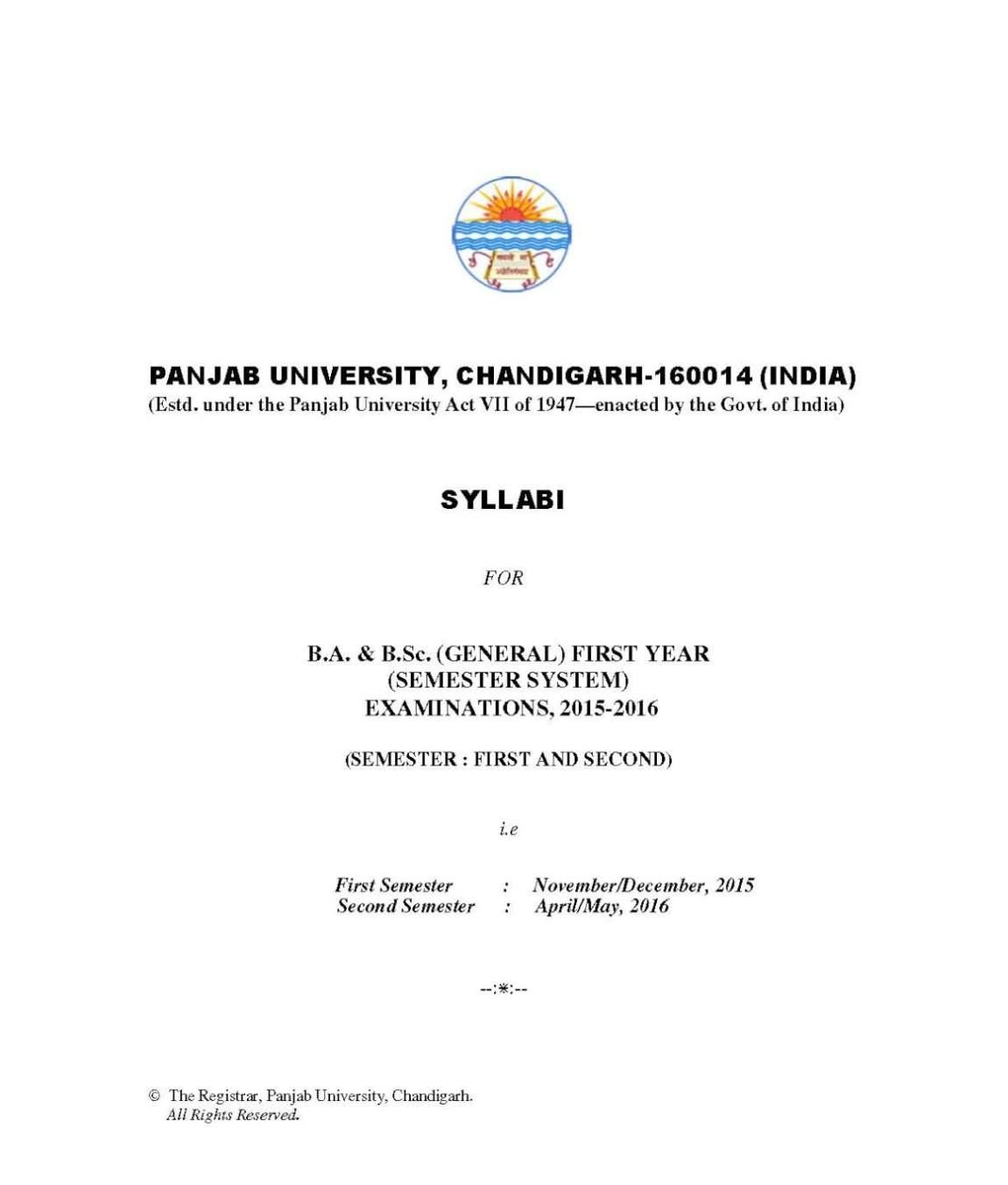 Syllabus Of Ba Punjab University 2020 2021 Student Forum