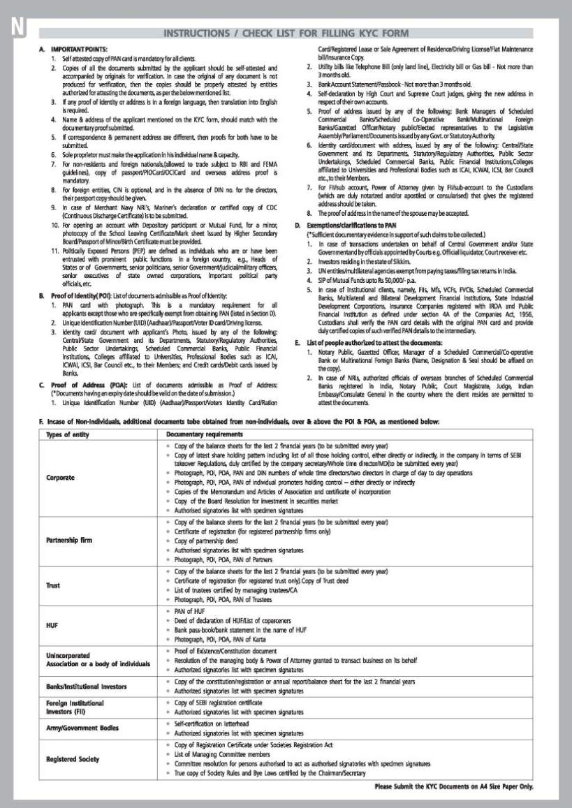 kyc form bank of india online