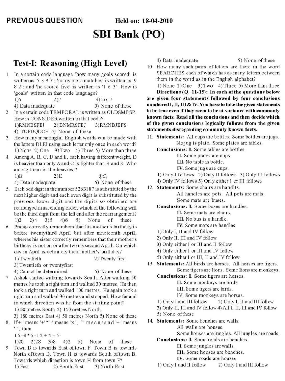 sbi bank po exam sample papers pdf
