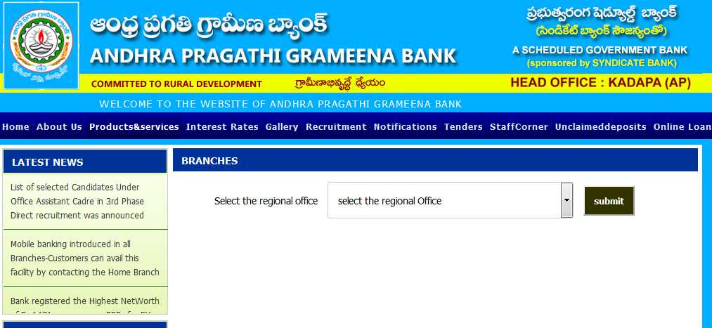 andhra bank regional office chennai address