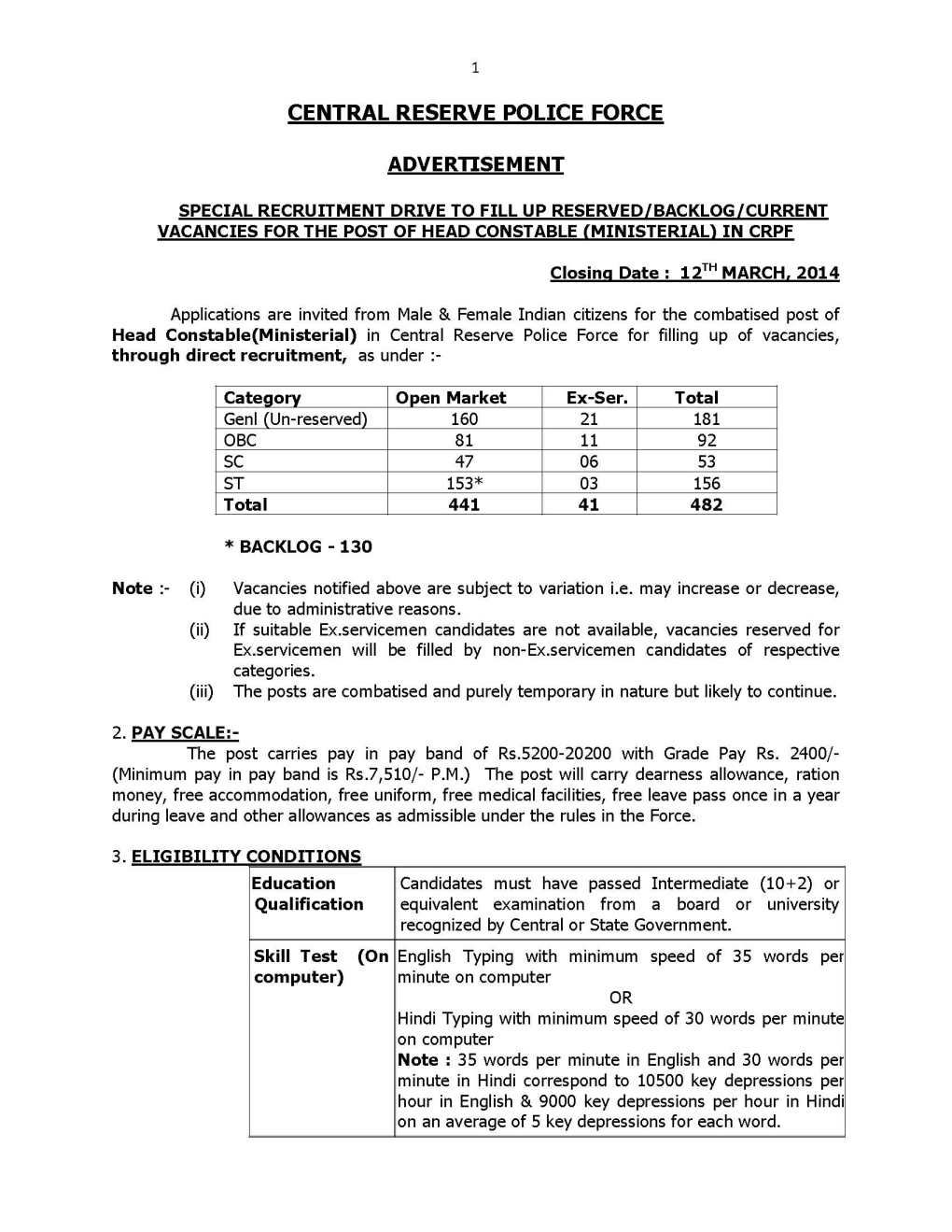 CRPF-HCM-recruitment-application-forms-1 Obc Certificate Application Form Am on