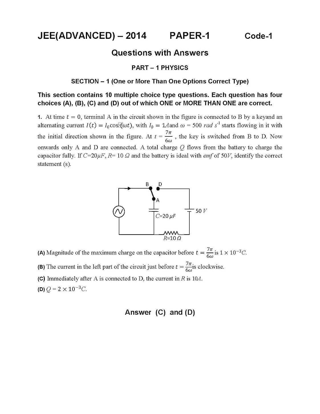 Jee Advanced Sample Paper Pdf