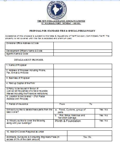 New India Assurance Company Fire Proposal Form - 2019 2020 ...