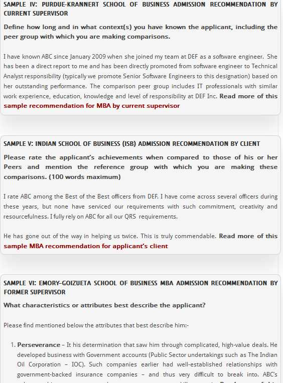 mba peer recommendation letter sample