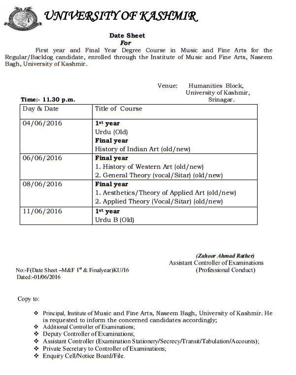 Kashmir University Date Sheet for 1st Year - 2020 2021 ...