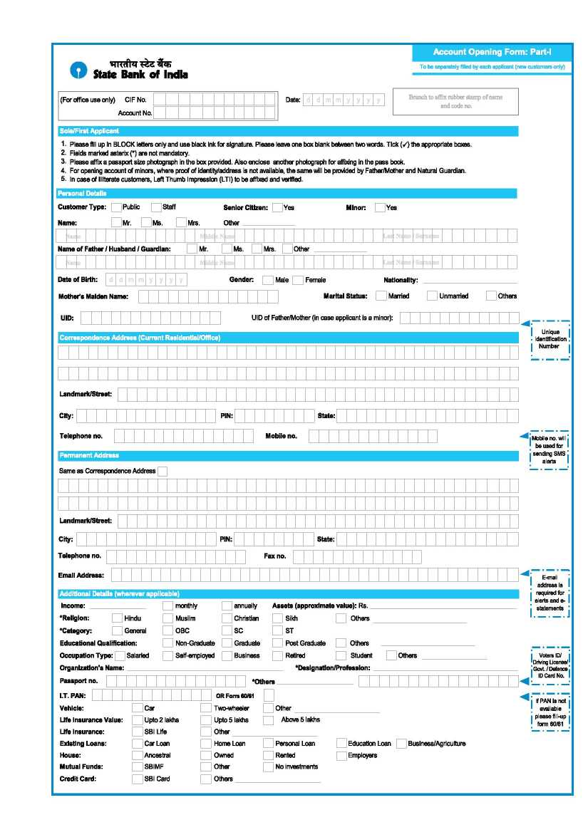 State Bank Of India Saving Account Opening Form Pdf