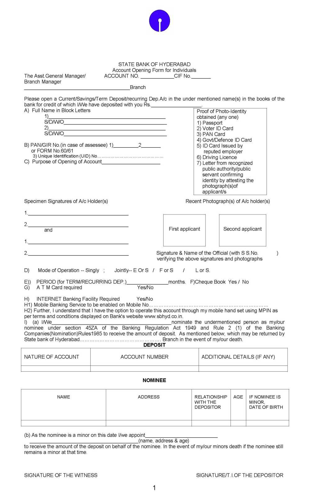 state bank of hyderabad form 15g