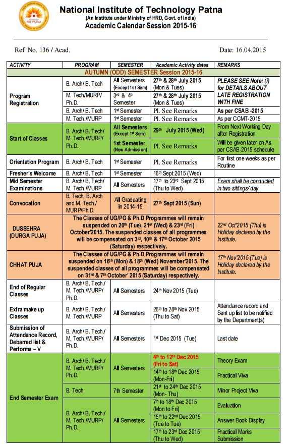 Uci Academic Calendar 2022.Nit Patna Academic Calendar 2021 2022 Student Forum