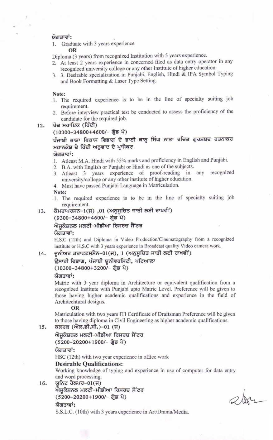 Non Teaching Jobs In Punjabi University Patiala - 2021 ...