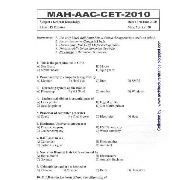 Mh Aac Cet Question Papers With Answers 2020 2021 Student Forum
