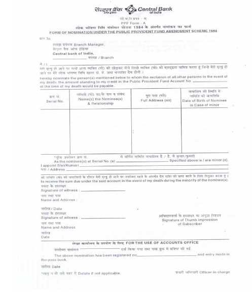 ppf form h central bank of india
