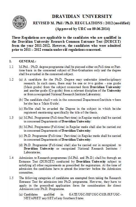 Dravidian university phd thesis status