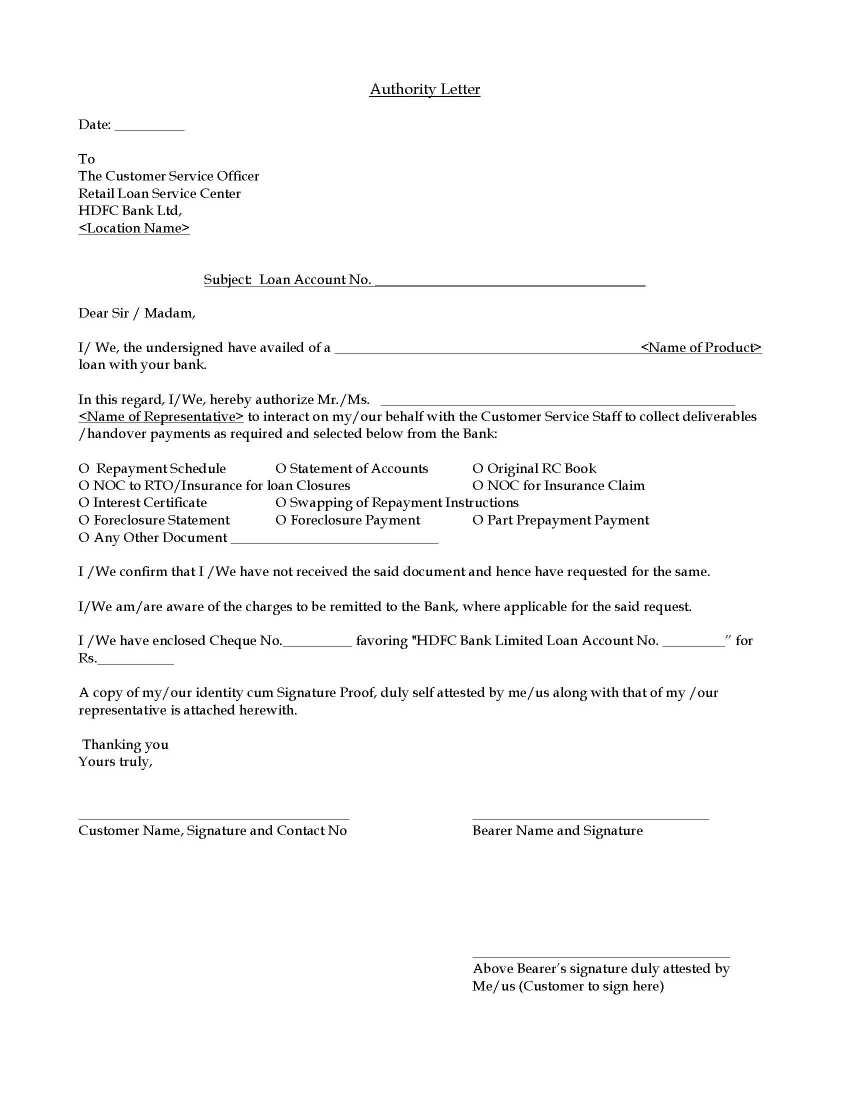 Authorization Letter For Loan from management.ind.in