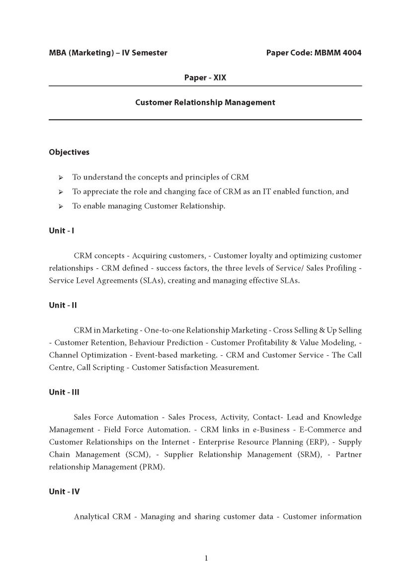 CRM Notes For MBA PDF - 2018 2019 Student Forum