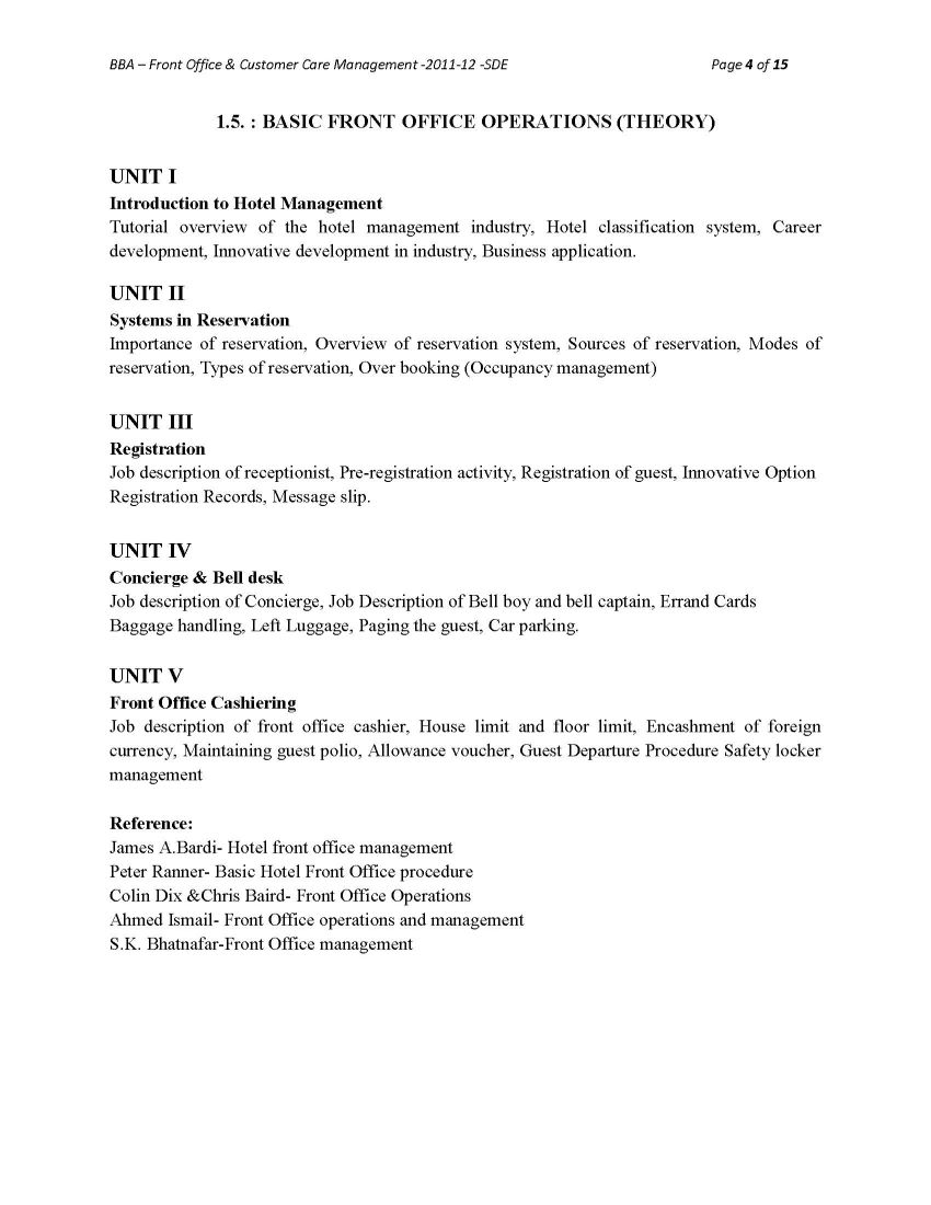 Front Office Bharathiar University - 2018 2019 Student Forum