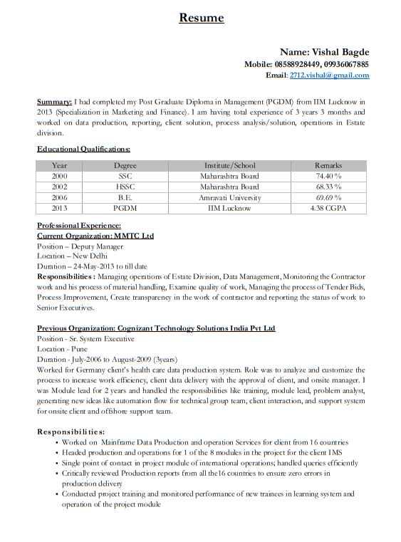 Resume Of Iim Ahmedabad Students 2018 2019 Student Forum