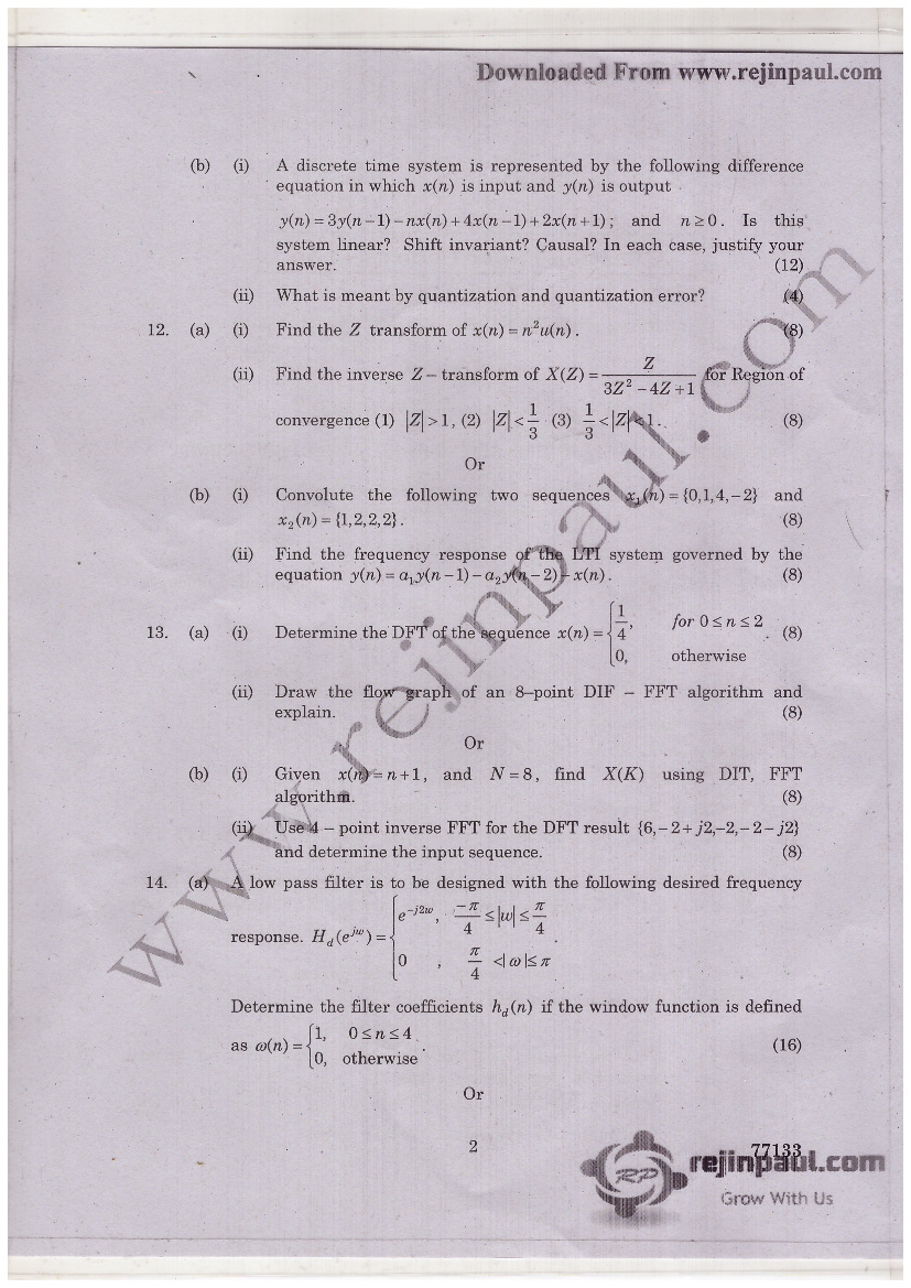 Anna University Chennai DSP Question Papers For EEE - 2018