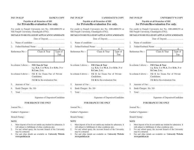punjab university admission bank challan form