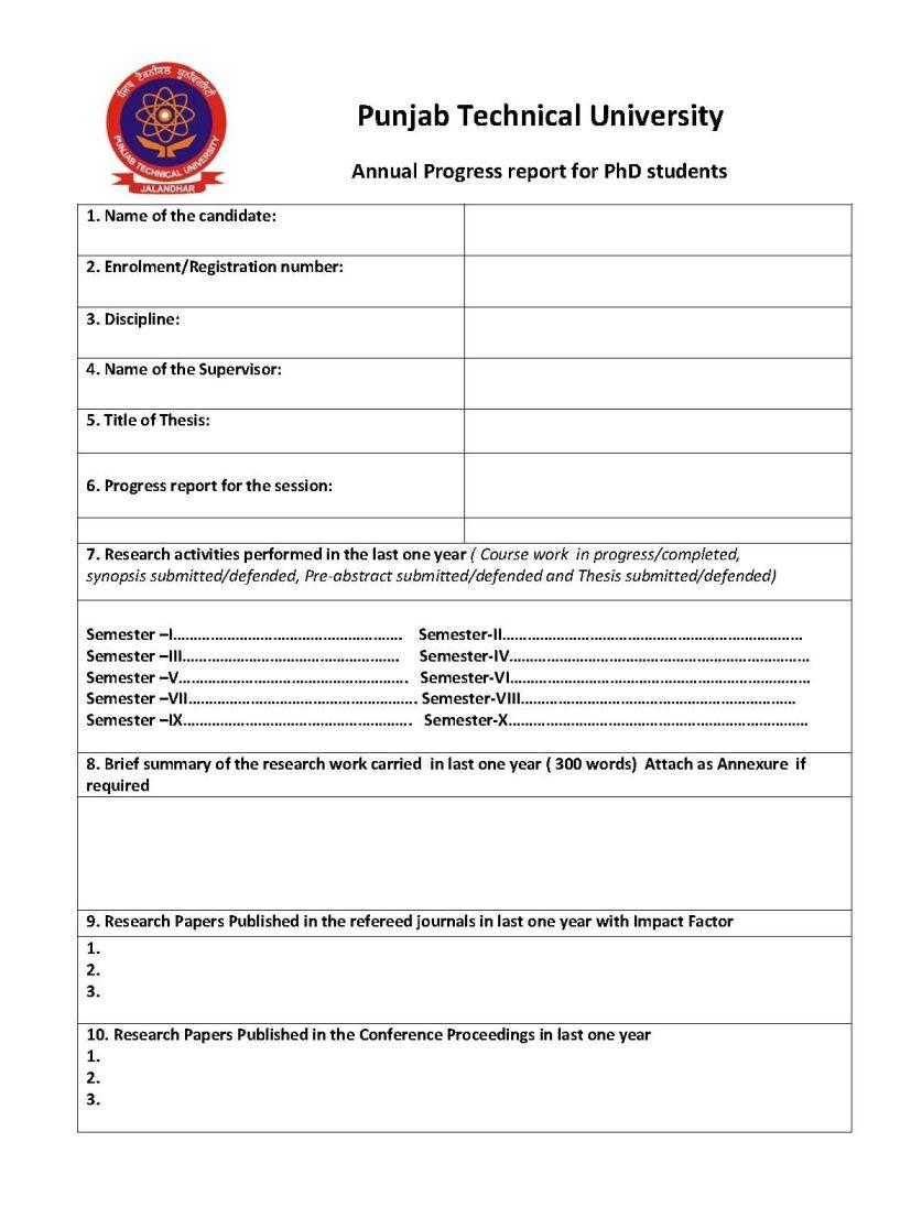 ptu thesis report format