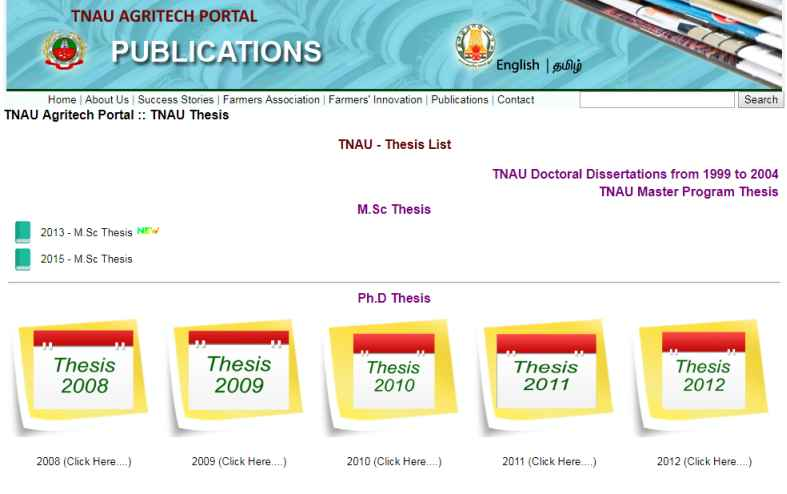 tnau thesis list