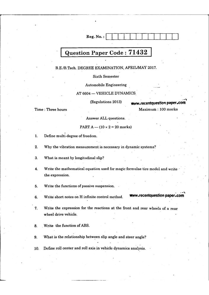 Vehicle dynamics question paper Anna University - 2018 2019 Student