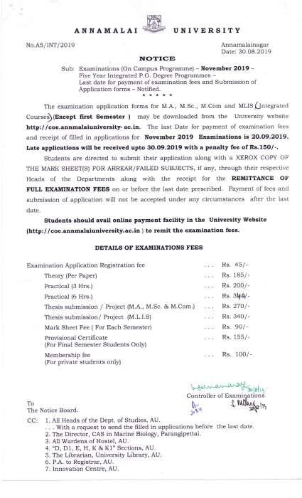 Annamalai University Exam Fees Details 2020 2021 Student Forum