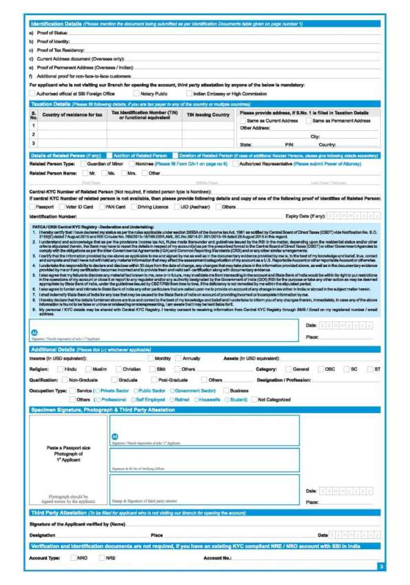 state bank of india new account form download
