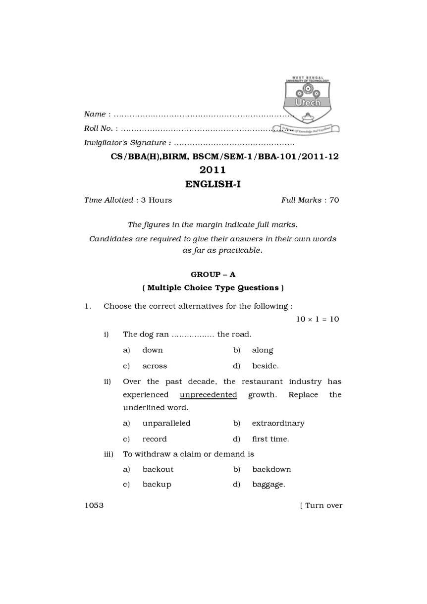 WBUT BBA question papers - 2019 2020 Student Forum